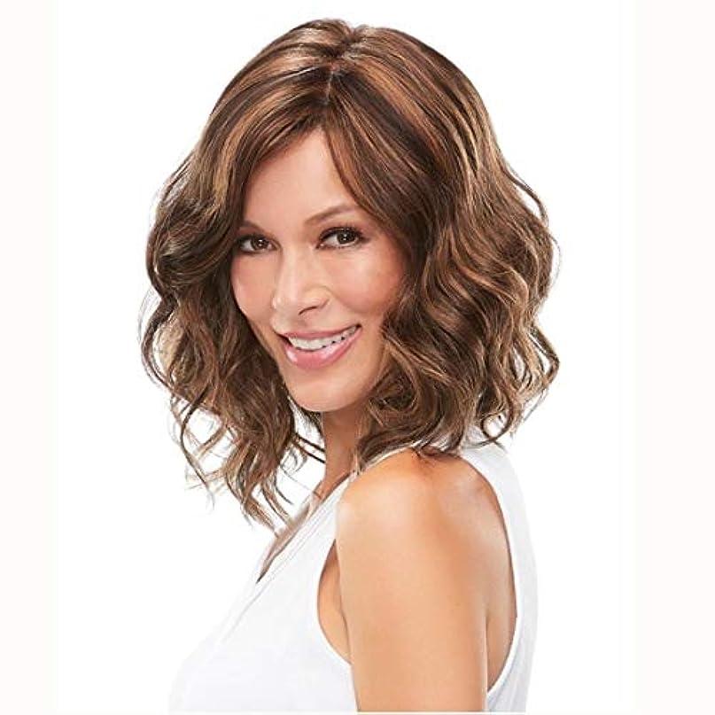 ハムローストシンプルさKerwinner 短い巻き毛のふわふわのかつら女性の女の子のための短い波状の合成かつら