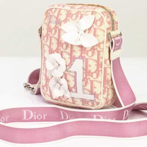 クリスチャンディオール トロッターPVC ショルダーバッグ 白 ピンク Christian Dior(中古)