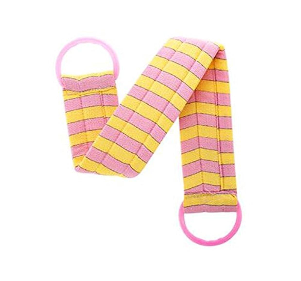 一次雑草見つけた2部分のボディクリーニングのバスベルトタオルの剥離のバスベルト、ピンクの黄色