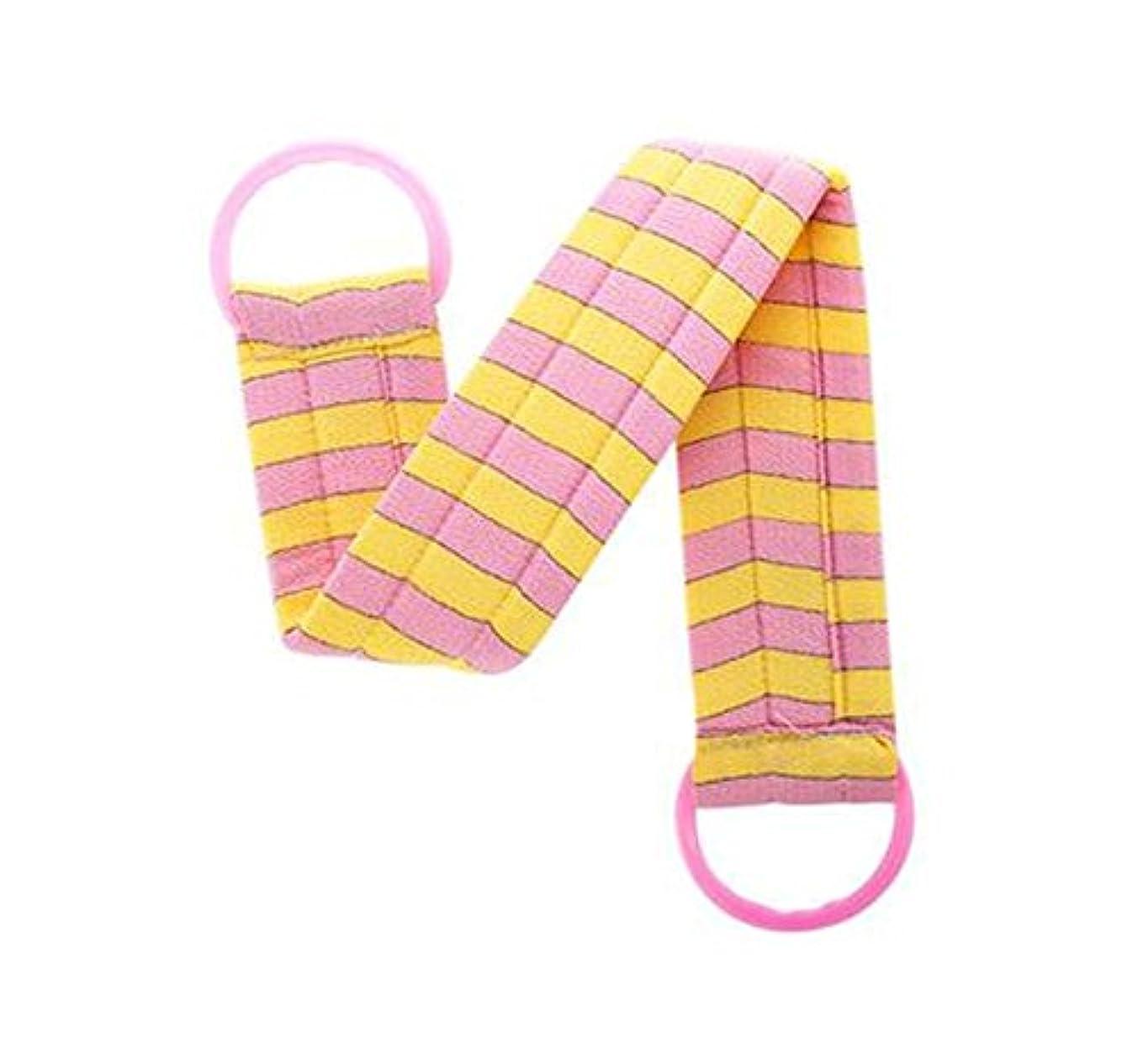 シンカン疲れたピンチ2部分のボディクリーニングのバスベルトタオルの剥離のバスベルト、ピンクの黄色