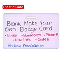 Blank Plastic Horizontal Make Your Own Badge ID Card Pocket Reference Guide by Scrubs and Stuff LLC