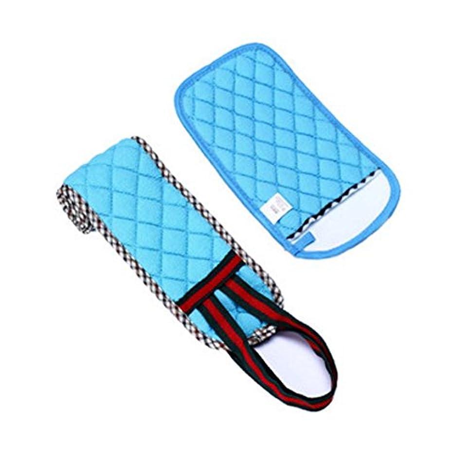繕う狭いうなり声2プルバックロングバスタオル/ラブマッドアダルト手袋セット、ブルー