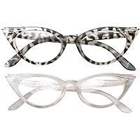 SOOLALA Womens Vintage Cateyes 80s Inspired Fashion Reading Glasses with Rhinestones