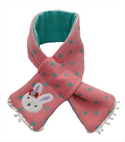 ベビー用 子供用 うさぎ クマ ワンポイント マフラー 男女兼用 全4色 ピンク