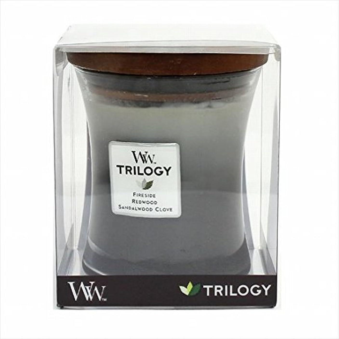 位置づける兄ホラーカメヤマキャンドル( kameyama candle ) Wood Wick トリロジージャーM 「 ウォームウッズ 」