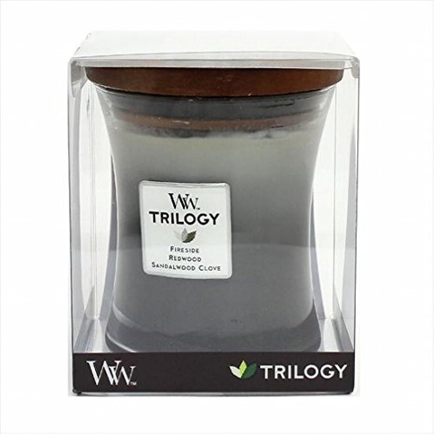 寛大な三十大統領カメヤマキャンドル( kameyama candle ) Wood Wick トリロジージャーM 「 ウォームウッズ 」