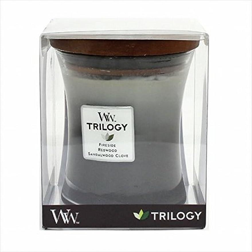 節約吹きさらし通り抜けるカメヤマキャンドル( kameyama candle ) Wood Wick トリロジージャーM 「 ウォームウッズ 」