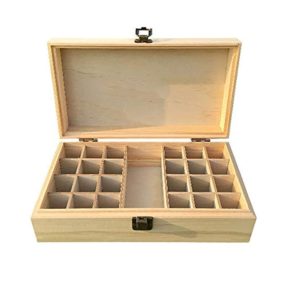 わがまま問題増幅エッセンシャルオイル収納ボックス 油のセキュリティを維持するために最善を収容するのに最適な贈り物オイルボトルストレージ25個のスロット 丈夫で持ち運びが簡単 (色 : Natural, サイズ : 28X15X10CM)