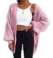 Qiangjinjiu 女性のロングスリーブオープンフロントセーターは、ポケット付きニットカーディガンアウターウェア Pink M