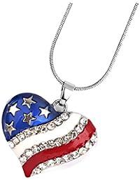 【ノーブランド品】国旗のデザイン ネックレス ギフト ハートペンダント ギフト 独立記念日 アメリカアフラグ