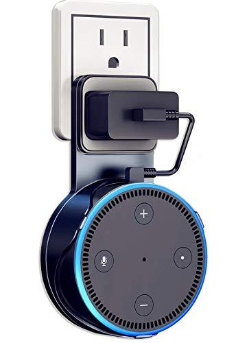Amazon Echo Dot 壁掛け ハンガー ホルダー エコードット専用 充電ケーブル付き 充電しながら使用可能 エコードット スピーカー スタンド 保護ケース Alexa アレクサ 第2世代専用 壁掛け カバー (黒)