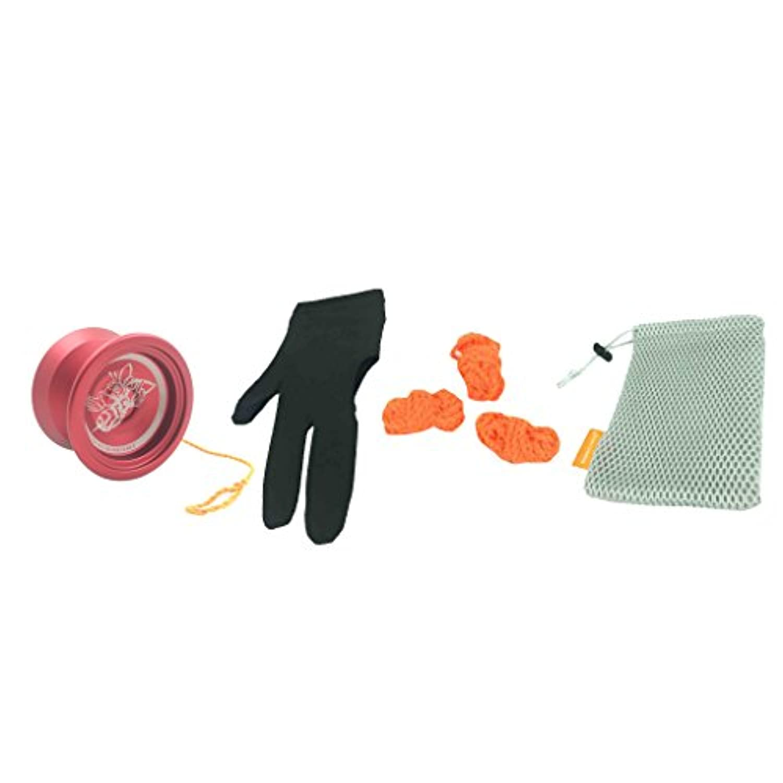 DYNWAVE ヨーヨー ベアリング ストリング 手袋 ゲーム 運動 アルミニウム合金製  - レッド