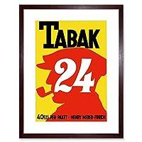 Vintage Ad Tobacco Tabak 24 Switzerland Pipe Smoking Framed Wall Art Print