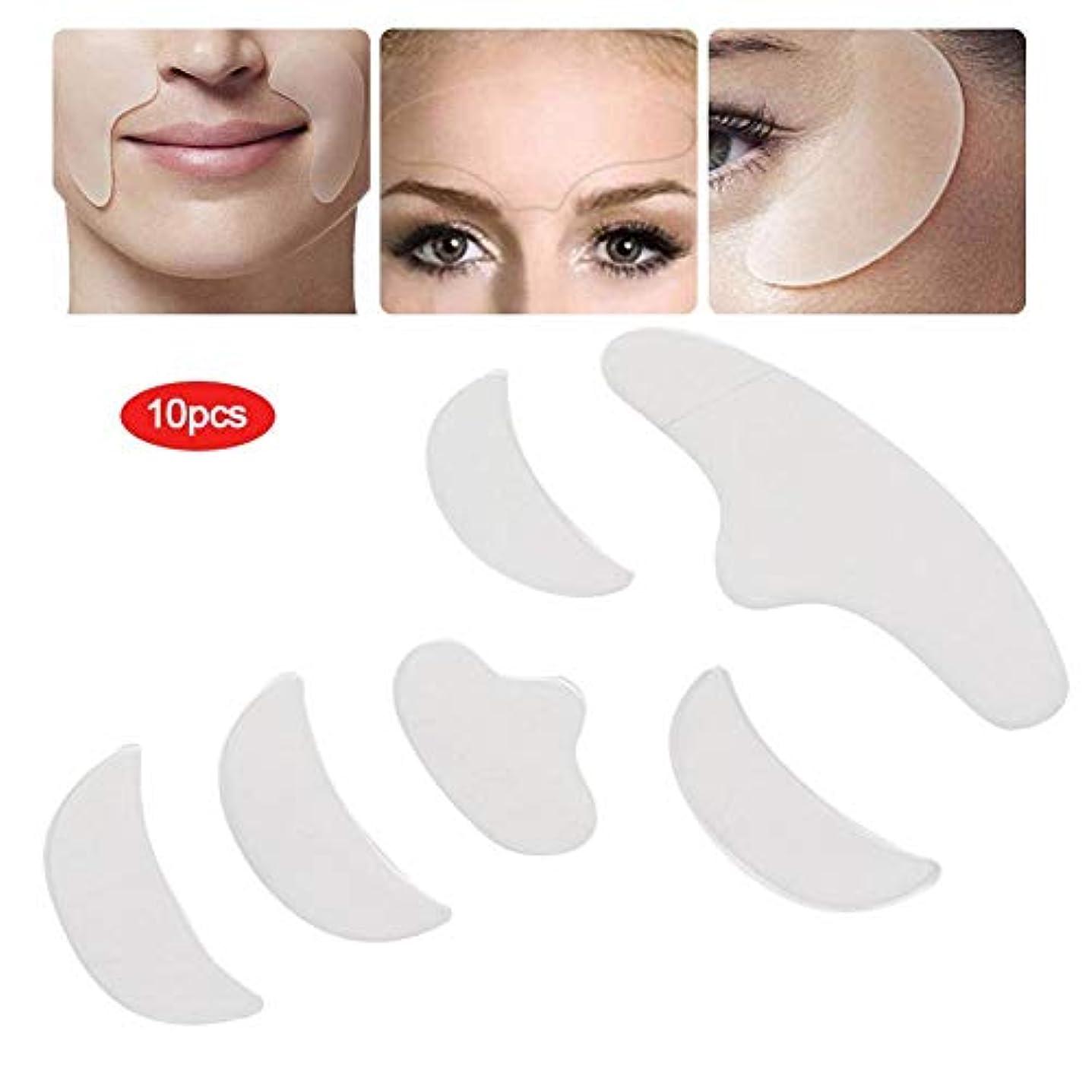 チューブ活気づける保有者返り 肌の弾力性 6ピース シリコーンパッチパッド スキンリフティング 再利用可能な額 目 あご フェイスパッチ
