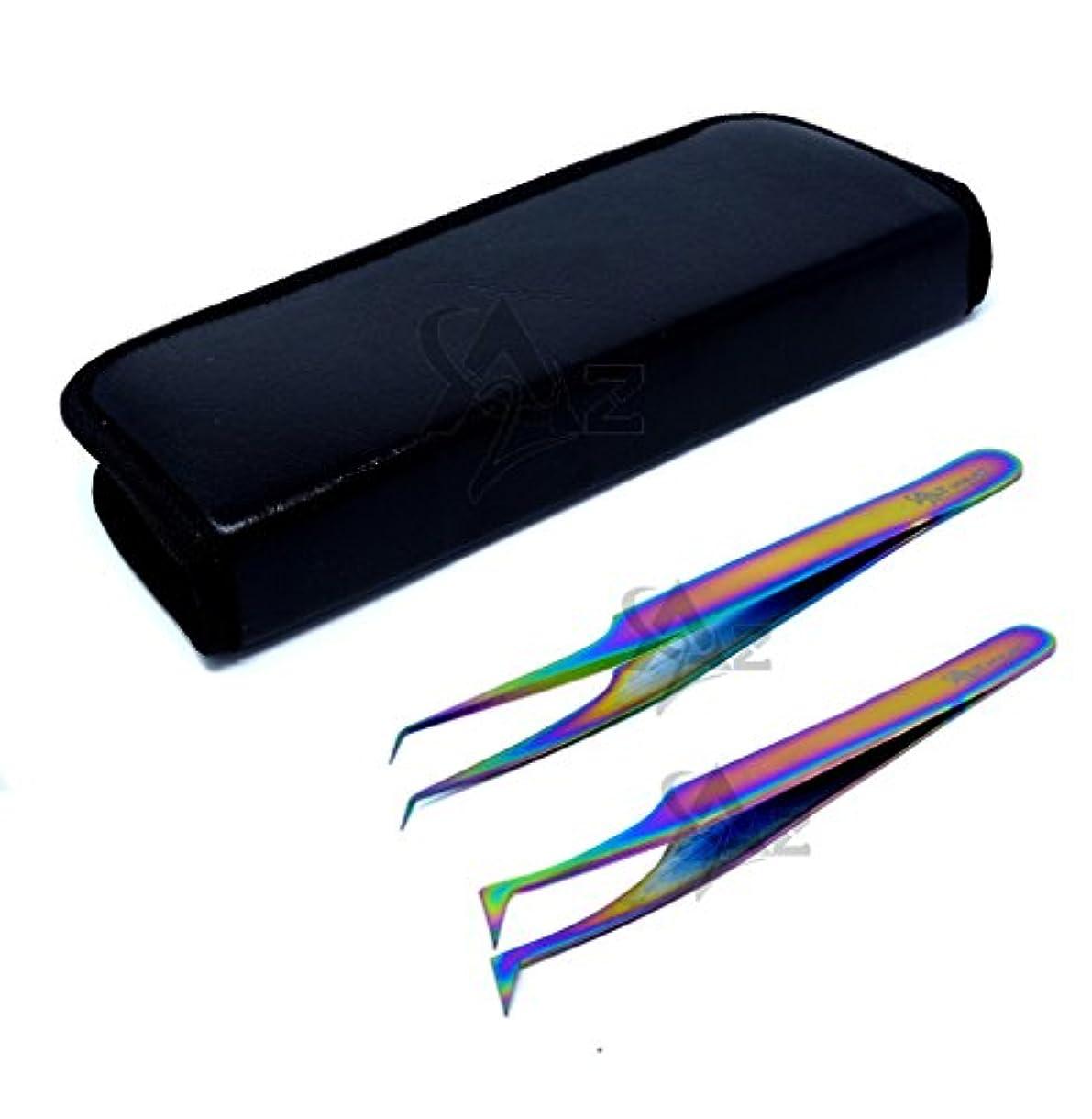 成功した乱暴なトランスミッションA2Z 2本のステンレス鋼マルチチタン虹色の3dまつ毛エクステンションピンセットプロストレートアングル+セミアングル細かい点のセット