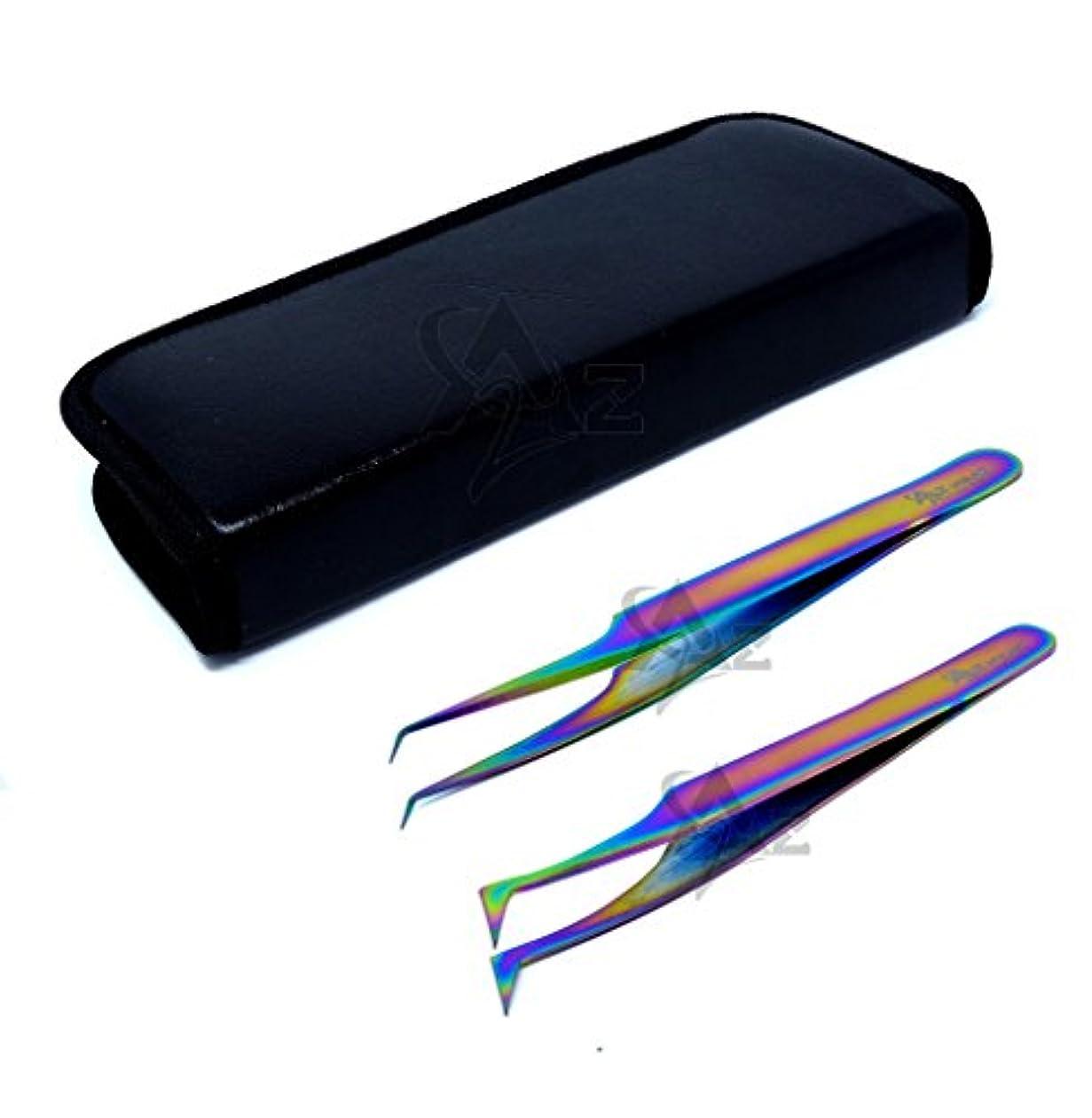 漫画四面体壁A2Z 2本のステンレス鋼マルチチタン虹色の3dまつ毛エクステンションピンセットプロストレートアングル+セミアングル細かい点のセット
