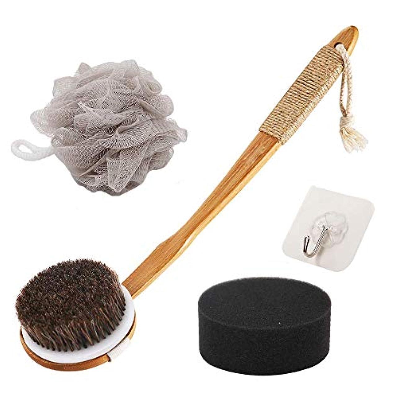 UMTELE ボディブラシ 体洗いブラシ 100%天然馬毛 背中ニキビ カーブしている長柄 分解可能 フラワーボールとスポンジ付き 血行促進/角質除去 お風呂用 バスグッズ やわらか毛 あかすり ボディウォッシュボール