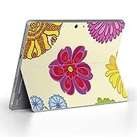 Surface go 専用スキンシール サーフェス go ノートブック ノートパソコン カバー ケース フィルム ステッカー アクセサリー 保護 フラワー 花 フラワー カラフル 003863