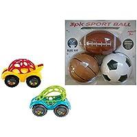 3パックスポーツボールbyブルー帽子とOボール1ピースRattle & Roll車バンドル