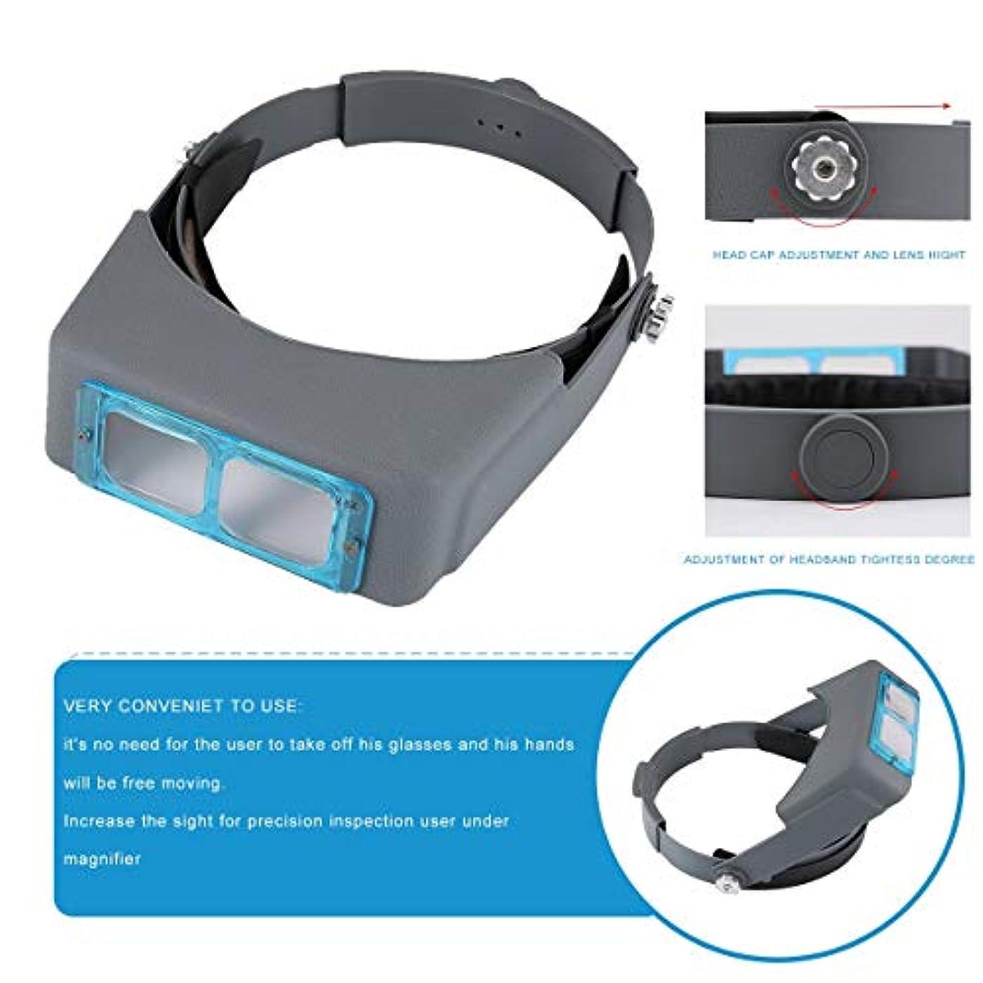 始める自宅で評価するブルー&ブラックダブルレンズヘッドマウントヘッドバンドリーディングルーペヘッドルーペ虫眼鏡ルーペ4拡大鏡