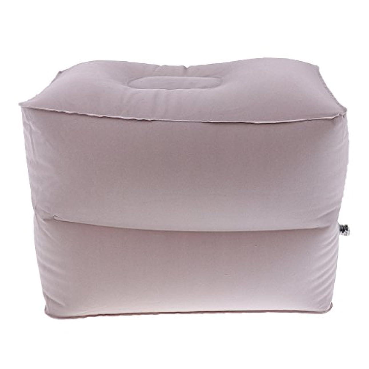 着るファンブルメロドラマトラベル インフレータブル フットレスト フットパッド フットマット ピロー 収納袋付き 全2サイズ - グレー, 小