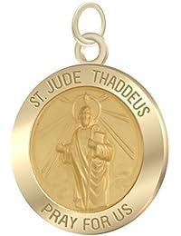1.0ソリッド14 KイエローゴールドSt Saint Jude Thaddeusペンダントチャームネックレス