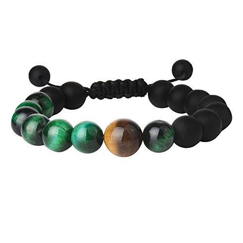 JEKA 艶消オニキス タイガーアイ金運上昇、開運結びブレスレット 祈り腕輪数珠 メンズ長さ調節可能