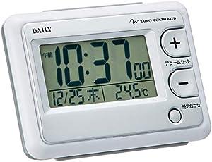 リズム(RHYTHM) 目覚まし時計 電波時計 温度計付き ジャストウェーブR095DN 白 8.0×11.0X4.7cm DAILY 8RZ095DN03