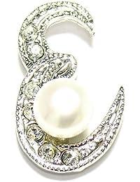 淡水真珠白5.5mmボタン型イニシャルピンブローチE
