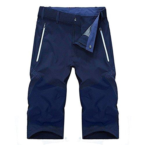 スポーツウェア アウトドアウェア 登山ズボン クライマーパンツ トレッキングパンツ カジュアル クロップドパンツ 高機能 通気 吸汗 速乾 防撥水 7分丈 ブルー XXL