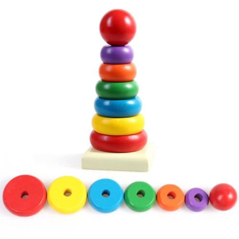 キッズ赤ちゃんおもちゃ木製スタッキングリングタワー教育玩具レインボースタックUp Play