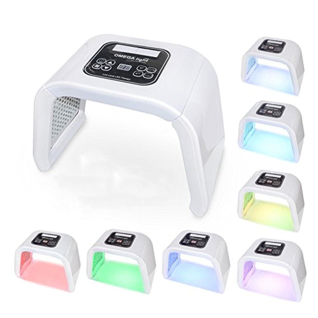 元の楕円形怖がらせる光子治療器7色ライトニキビ美容器具,White