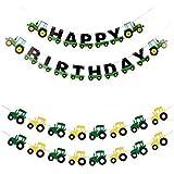 Cieovo パーティー用 緑の建設 車 パーティー ガーランド バナーセット トラクター ハッピーバースデー バナー 農場トラクター テーマの装飾 子供 赤ちゃん 建設 車 パーティー 用品