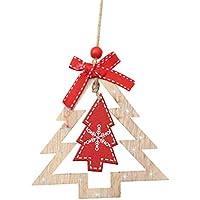 BESTOYARD クリスマスハンギングの装飾3Dデザインのツリー形の装飾木製のスライスの手作りの手作りのクリスマスの装飾3個