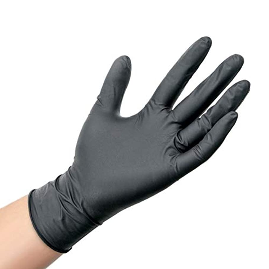 コーナー肌寒い膨張する肥厚した抗酸とアルカリの帯電防止保護手袋使い捨て工業用ニトリルゴム手袋 YANW (色 : ブラック, サイズ さいず : M m)