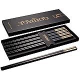Foster (Goldage) 5-Pairs Fiberglass Dishwasher-Safe Chopsticks (Long Version Sunset Glow - Gold & Silver)