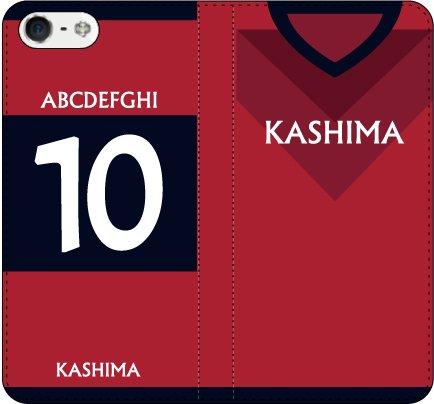 iPhone7/7Plus対応/iPhone用選択可:サッカー手帳ユニフォームケース(クラブ:鹿島)(好きな番号と名前を受注生産)プリントプラスティックケース iPhone6用 -