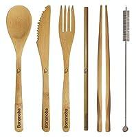 Komodo – 竹製トラベルカトラリー/調理器具2セット : スプーン+フォーク+ナイフ+箸+ストロー+コットンクリーニングブラシ+トラベルバッグx1+アルミフックx2。