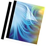 Fellowes Binding Thermal Presentation Covers, 3/8-Inch, Clear/Black, Holds 90 Sheets, 10-Pack (5256101)