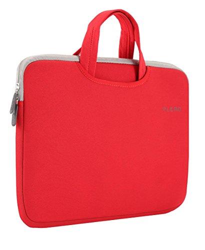 PLEMO ノートパソコンケース 15-15.6インチブリーフケース インナーバッグ ナイロンライクラ布地 赤