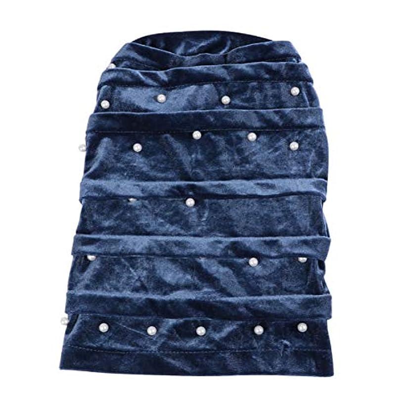 出会い変形カリングHealifty ナイトスリープキャップベルベットパール弾性ボンネット長い睡眠帽子ヘッドカバー女性の女の子の自然な髪の三つ編み(グレー)