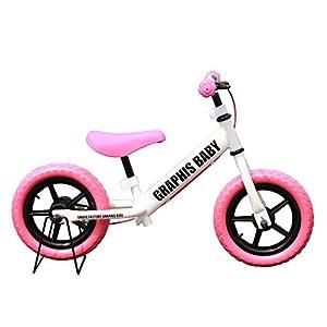 選べる20色!子ども用ペダルなし自転車 ブレーキ・専用スタンド付 GR-BABY ホワイトピンク