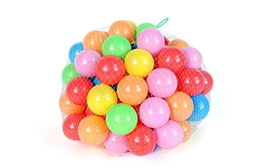 ノーブランド カラーボール 7色100個入り 直径5.5cm やわらかポリエチレン製