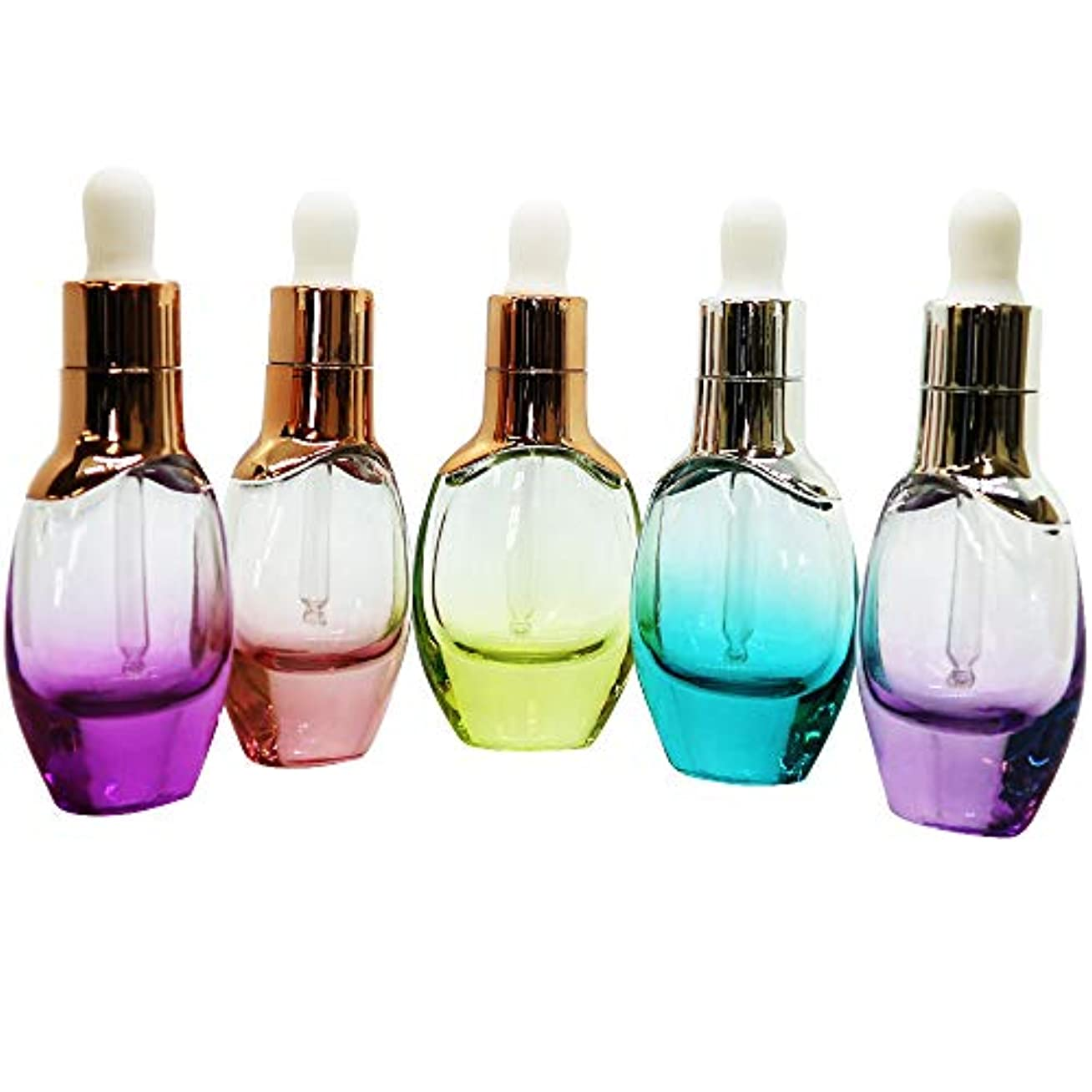 持参パッド遺産Coco Makai スポイト付き エッセンシャル ボトル 5本セット アロマ 化粧水 オイル ガラス製 かわいい カラフル