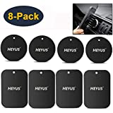 HEYUS [8 Pack] Mount Metal Plate Replacement for Phone Magnet, Metal Disc with Adhesive for Magnetic Phone Car Mount Holder 4 Rectangle and 4 Round Black