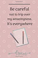 Be Careful Not To Trip Over My Amazingness. It's Everywhere This is a lined notebook (lined front and back). Simple and elegant. Funny Gift for Coworker. Novelty Gag Notebook, Journal. Ideal For Secret Santa, Christmas, Birthdays 120 Page