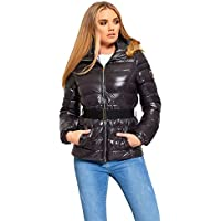 Janisramone Womens Ladies New Puffer Padded Quilted Shiny Belt Fur Hooded Brave Soul Zip Up Winter Jacket Coat