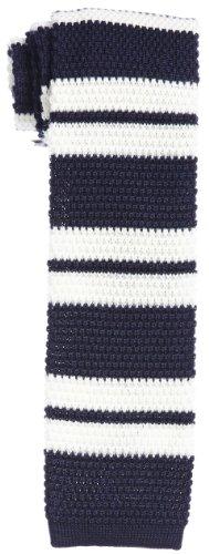 Wool Knit Tie 118-28-0063: Navy Stripe