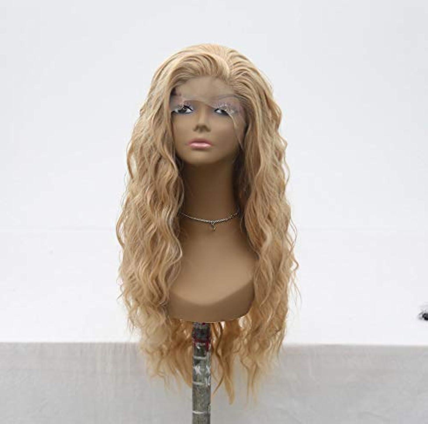 結晶マンモスに付ける女性150%密度フロントレースカーリーウィッグ人毛ブラジル耐熱合成ロングウィッグ