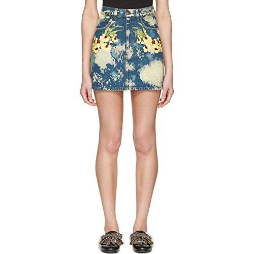 (グッチ) Gucci レディース スカート ミニスカート Blue Denim Flower Patch Miniskirt 並行輸入品